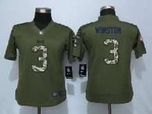 Women   Tampa Bay Buccaneers #3 Jameis Winston Green Salute To Service Limited Jersey