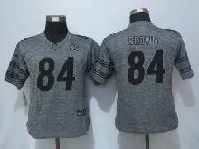 Women  Nfl Pittsburgh Steelers #84 Antonio Brown Gray Limited Jersey