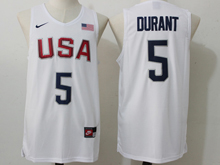 Mens Nba 12 Dream Team #5 Kevin Durant White Jersey
