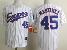 Mens Mlb Montreal Expos #45 Martinez White (blue Stripe) 1982 Throwbacks Jersey