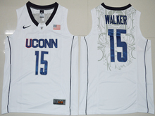 Mens Ncaa Nba Uconn Huskies #15 Kemba Walker White Jersey