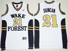 Mens Ncaa Nba Wake Forest Demon Deacons #21 Tim Duncan White Jersey