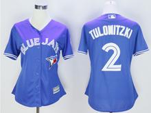 Women Mlb Toronto Blue Jays #2 Troy Tulowitzki Blue Majestic Jersey