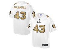 Mens Nfl Pittsburgh Steelers #43 Troy Polamalu Pro Line White Gold Collection Jersey