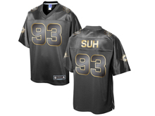 Mens Nfl Miami Dolphins #93 Ndamukong Suh Pro Line Black Gold Collection Jersey