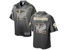 Mens Nfl Green Bay Packers #12 Aaron Rodgers Pro Line Black Gold Collection Jersey