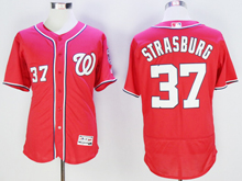 mens majestic washington nationals #37 stephen strasburg red Flex Base jersey