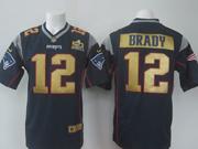 Mens   Nfl New England Patriots #12 Tom Brady Blue Super Bowl 50 Bound Game Jersey