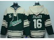 Mens Reebok Nhl Minnesota Wild #16 Zucker Green Hoodie Jersey