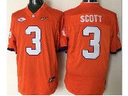 Mens Ncaa Nfl Clemson Tigers #3 Scott Orange Jersey