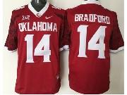 Mens NCAA NFL Oklahoma Sooners #14 Bradford RED JERSEY
