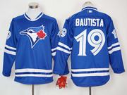 Mens Mlb Toronto Blue Jays #19 Jose Bautista Blue Long Sleeve Jersey