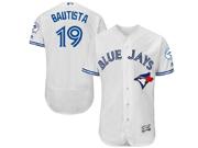 mens majestic toronto blue jays #19 jose bautista white Flex Base jersey