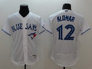 mens majestic toronto blue jays #12 roberto alomar white Flex Base jersey