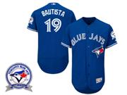 mens majestic toronto blue jays #19 jose bautista blue 40th anniversary Flex Base jersey