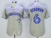 mens majestic toronto blue jays #6 marcus stroman gray Flex Base jersey