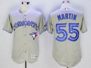 mens majestic toronto blue jays #55 russell martin gray Flex Base jersey