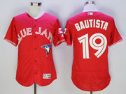 mens majestic toronto blue jays #19 jose bautista red Flex Base jersey
