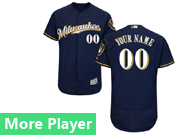 Mens Majestic Milwaukee Brewers Navy Blue Flex Base Current Player Jersey Milwaukee