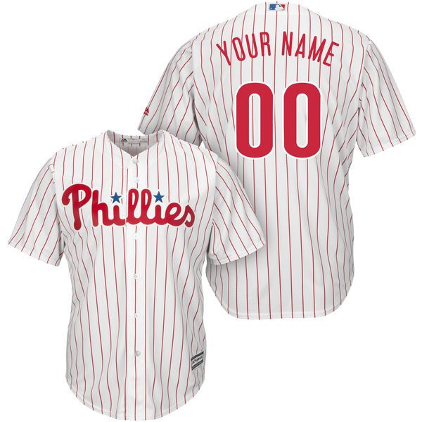 Mens Womens Youth Majestic Philadelphia Phillies White Stripe Cool Base Current Player Jersey