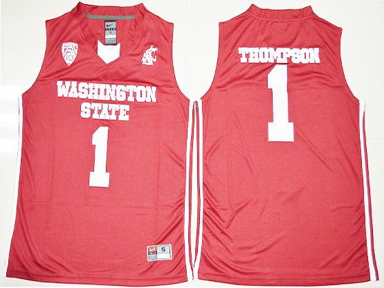 Mens Ncaa Nba Washington State Cougars #1 Klay Thompson Red Jersey