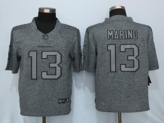 Mens Nfl Miami Dolphins #13 Dan Marino Gray Stitched Gridiron Gray Limited Jersey