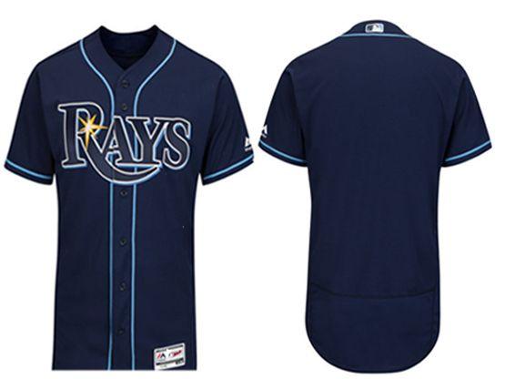 mens majestic tampa bay rays blank navy Flex Base jersey