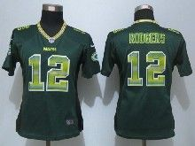 Women  Nfl Green Bay Packers #12 Aaron Rodgers Green Strobe Elite Jersey