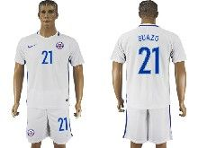 mens soccer chile national team #21 suazo white away 2016 copa america Suit Jersey