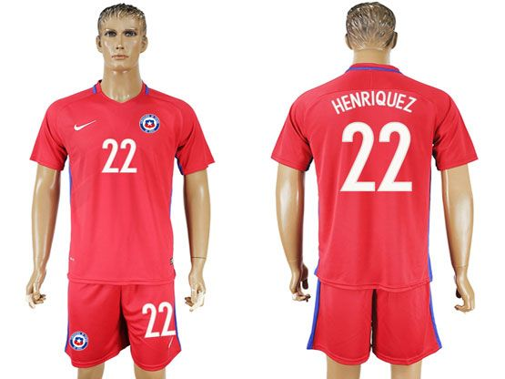 mens soccer chile national team #22 henriquez red home 2016 copa america Suit Jersey
