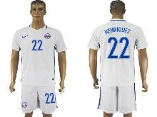 mens soccer chile national team #22 henriquez white away 2016 copa america Suit Jersey