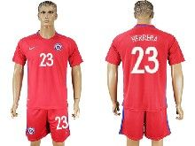 mens soccer chile national team #23 herrera red home 2016 copa america Suit Jersey