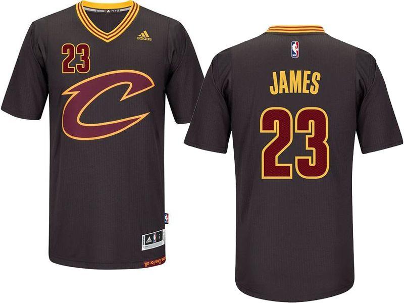 Mens Nba Cleveland Cavaliers  23 Lebron James Black Sleeved Swingman Jersey 02e53d1dc969