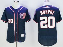 mens majestic washington nationals #20 daniel murphy navy blue Flex Base jersey