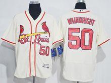 mens majestic st.louis cardinals #50 adam wainwright cream white Flex Base jersey