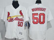 mens majestic st.louis cardinals #50 adam wainwright white Flex Base jersey