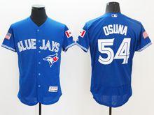 mens majestic toronto blue jays #54 roberto osuna blue royal fashion stars stripes Flex Base jersey