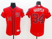 mens majestic washington nationals #34 bryce harper scarlet fashion stars stripes Flex Base jersey