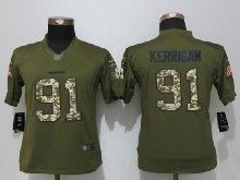 Women    Washington Red Skins #91 Ryan Kerrigan Green Salute To Service Limited Jersey
