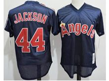 Mens Mlb Los Angeles Angels #44 Reggie Jackson Dark Blue Mesh Throwbacks Jersey