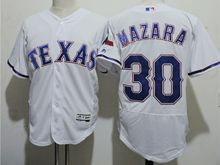 mens majestic texas rangers #30 nomar mazara white Flex Base jersey