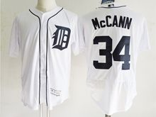 mens majestic detroit tigers #34 james mccann white Flex Base jersey