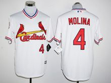 Mens Mlb St.louis Cardinals #4 Yadier Molina White Pullover Jersey