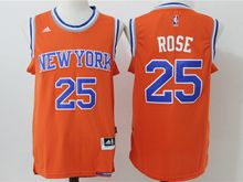 Mens Nba New York Knicks #25 Derrick Rose Orange New Jersey