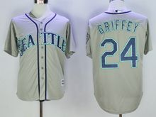 Mens Mlb Seattle Mariners #24 Ken Griffey Jr Gray (hall Of Fame Mark) Jersey