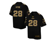 Mens Nfl San Francisco 49ers #28 Carlos Hyde Pro Line Black Gold Collection Jersey