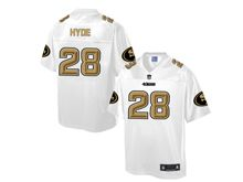 Mens Nfl San Francisco 49ers #28 Carlos Hyde Pro Line White Gold Collection Jersey