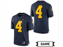 Mens Jordan University Of Michigan Football Navy #4 Game Jersey