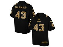 Mens Nfl Pittsburgh Steelers #43 Troy Polamalu Pro Line Black Gold Collection Jersey