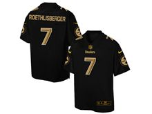Mens Nfl Pittsburgh Steelers #7 Ben Roethlisberger Pro Line Black Gold Collection Jersey